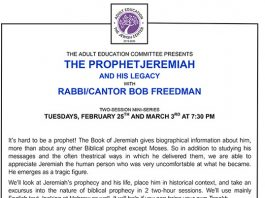 The Prophet Jeremiah And His Legacy with Rabbi-Cantor Bob Freedman