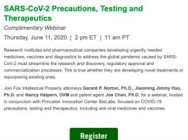 Webinar: SARS-CoV-2 Precautions, Testing and Therapeutics
